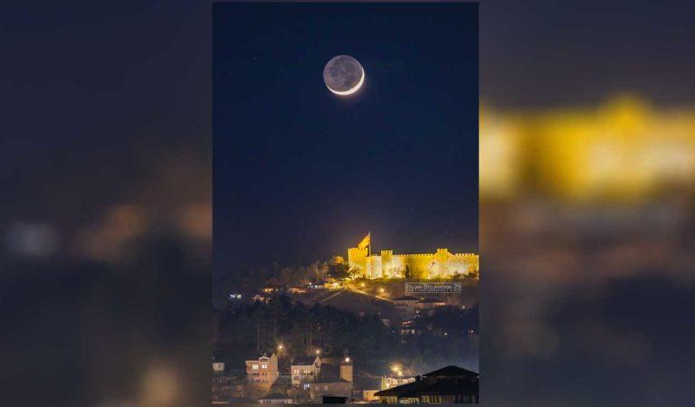 Фото: Млада месечина над Самоилова Тврдина