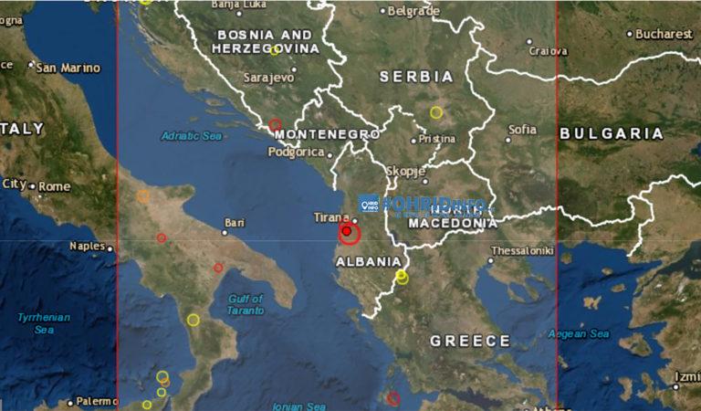 Земјотрес од 5.8 степени ја стресе Албанија, почуствуван и во Македонија