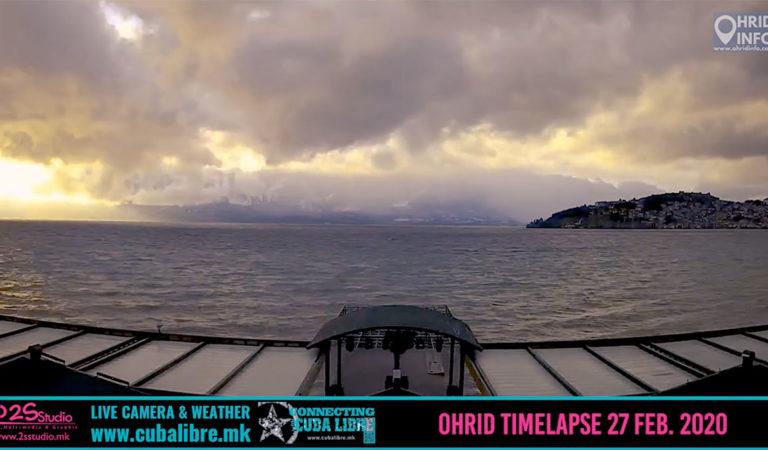 Видео Timelapse: Сите бои на зимата денес во Охрид 27 Февруари 2020